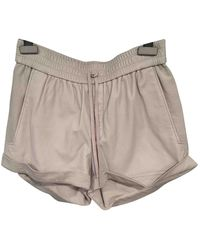 Helmut Lang Grey Leather Shorts - Gray