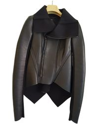 Rick Owens Lilies Leather Biker Jacket - Black