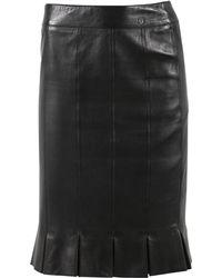 Chanel - Black Leather Skirt - Lyst