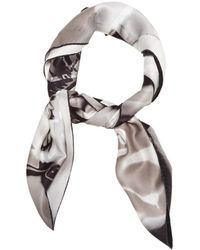 Dior \n Gray Silk Scarf