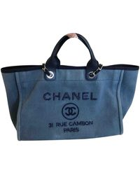 Chanel Tote bag Deauville in Tela - Blu