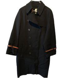 Hermès Mantel en Laine Noir
