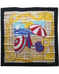 Céline Vintage Gold Silk Scarves - Multicolour