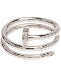 Cartier - Juste Un Clou Silver White Gold Ring - Lyst