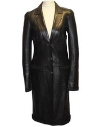 Chanel - Pre-owned Black Leather Coats - Lyst