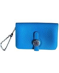 Hermès Dogon Leather Card Wallet - Blue