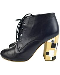 Chanel - \n Navy Leather Ankle Boots - Lyst