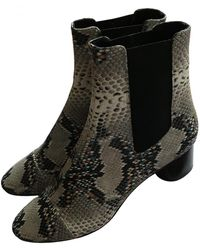 Isabel Marant Danae Leather Ankle Boots - Grey