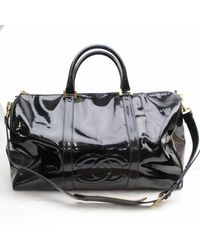 Chanel Black Patent Leather Travel Bag