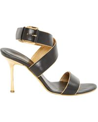 d356edf0e75 Lyst - Balenciaga Leather Ankle-strap Sandals in Metallic