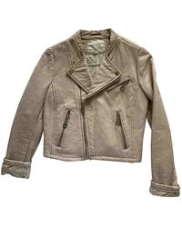 Maje Pink Leather Leather Jacket - Gray