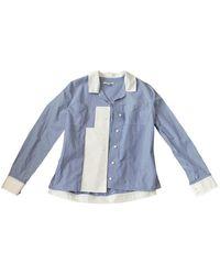 Carven Top en Coton Bleu
