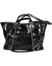 Chanel Deauville Patent Leather Handbag - Black