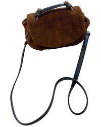 Maje Faux Fur Crossbody Bag - Brown