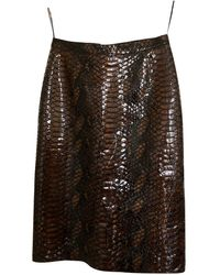 Burberry Patent Leather Skirt Suit - Brown