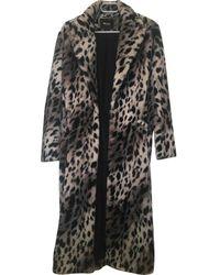Maje Grey Faux Fur Coat - Gray