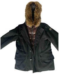 Moncler Parka Fur Hood de Lana - Negro