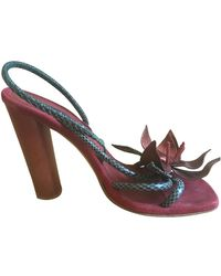 Marc Jacobs Leather Sandals - Red