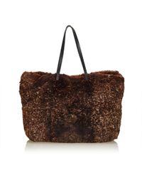 Lyst - Fendi Faux Fur Tote Bag in Natural 183b68f7c67c8