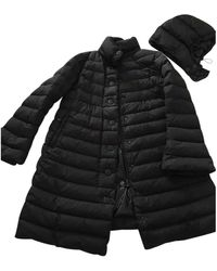 Moncler - Long Black Synthetic Coats - Lyst