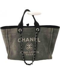 Chanel Deauville Cloth Tote - Gray