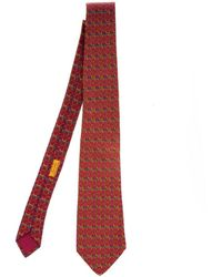 Hermès Cravatta in seta rosso