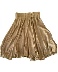 Blumarine Silk Mid-length Skirt - Natural
