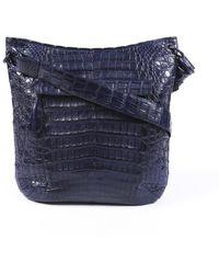 Nancy Gonzalez Blue Crocodile Handbag