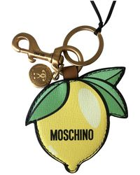 Moschino Leather Key Ring - Yellow