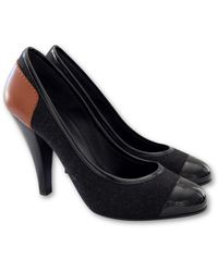 Chanel - Anthracite Cloth Heels - Lyst