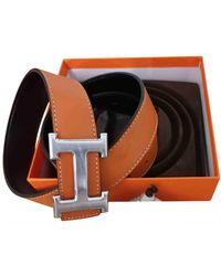 Hermès Cintura H in Pelle - Arancione