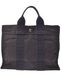 Hermès Herline Grey Cloth Handbag - Gray