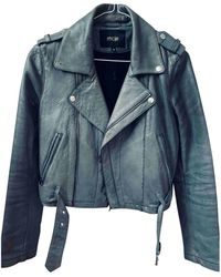 Maje Leather Jacket - Gray