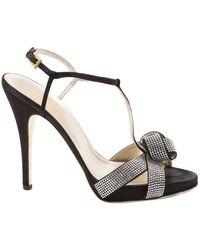 Valentino Black Cloth Sandals