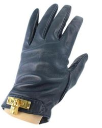 Hermès Black Leather Gloves