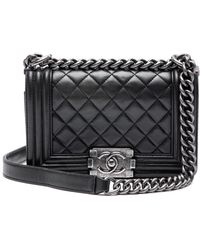 Chanel Boy Black Leather Handbag