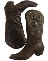 Marni Leather Cowboy Boots - Brown
