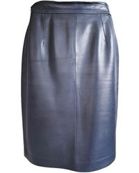 Loewe Leather Mid-length Skirt - Blue