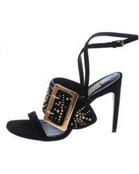 9e536826d61 Burberry Equestrian Detail Leather High-heel Sandals in Black - Lyst