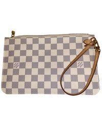 Louis Vuitton Bolsa clutch en lona blanco Neverfull
