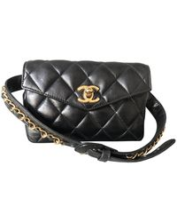 Chanel Leder Baguette Tasche - Schwarz