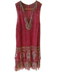 Jenny Packham Seide Midi Kleid - Rot