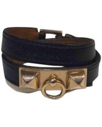 Hermès Collier De Chien Leder Armbänder - Schwarz