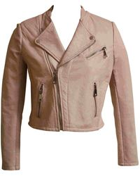 Maje Pink Leather Leather Jacket