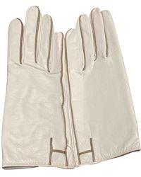 Hermès White Leather Gloves