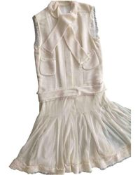 Chanel - Pre-owned White Polyester Dresses - Lyst