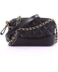 Lyst - Chanel Gabrielle Leather Crossbody Bag in Black a63585d5085f7