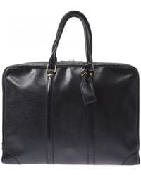 Louis Vuitton Porte Documents Voyage Leather Handbag - Black