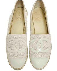 Chanel White Glitter Espadrilles