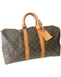 Louis Vuitton Valigie in tela marrone Keepall